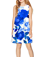 cheap -Kids Girls' Basic Cute Floral Print Sleeveless Above Knee Dress Blue