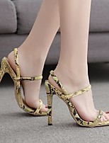 cheap -Women's Heels Stiletto Heel Square Toe PU Spring & Summer Yellow / Black