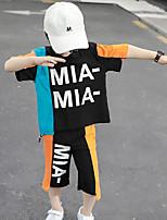 Недорогие -Дети Дети (1-4 лет) Мальчики Уличный стиль Одежда для спорта и отдыха на открытом воздухе Синий С принтом Контрастных цветов Пэчворк С принтом С короткими рукавами Обычный Обычная Набор одежды Лиловый