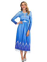 cheap -Princess Elsa Dress Women's Movie Cosplay Cosplay Blue Dress Halloween Carnival Masquerade Polyester