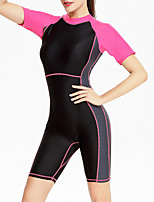 cheap -Women's Rash Guard Dive Skin Suit Bodysuit Breathable Short Sleeve Front Zip - Swimming Diving Water Sports Patchwork Autumn / Fall Spring Summer