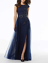 cheap -A-Line Jewel Neck Floor Length Tulle Elegant / Blue Wedding Guest / Formal Evening Dress with Sequin / Split / Appliques 2020