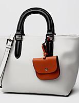 cheap -Women's Zipper PU Top Handle Bag Solid Color Gray