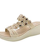 cheap -Women's Sandals Wedge Heel Open Toe Rhinestone / Sequin PU Summer Gold / Blue / Black