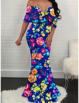 cheap -Women's A Line Dress - Print Maxi Blue S M L XL