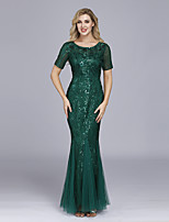 cheap -Mermaid / Trumpet Jewel Neck Floor Length Tulle / Sequined Sexy / Sparkle Wedding Guest / Formal Evening Dress with Sequin 2020