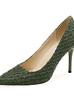 cheap -Women's Heels Stiletto Heel Pointed Toe Satin Minimalism Spring &  Fall Green / Black