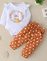 cheap -Baby Girls' Basic Easter Rabbit Polka Dot Long Sleeve Regular Clothing Set Khaki / Toddler
