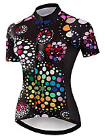 cheap -21Grams Women's Short Sleeve Cycling Jersey 100% Polyester Black / Red Polka Dot Bike Jersey Top Mountain Bike MTB Road Bike Cycling UV Resistant Breathable Quick Dry Sports Clothing Apparel