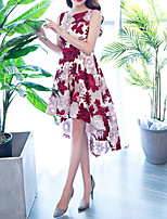 cheap -A-Line Jewel Neck Asymmetrical Polyester Floral / Red Cocktail Party / Homecoming Dress with Appliques / Sash / Ribbon 2020
