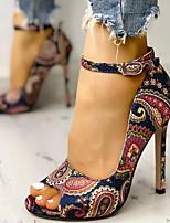 cheap -Women's Sandals Heel Sandals Summer Stiletto Heel Open Toe Daily PU Dark Blue