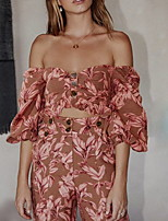 cheap -Two Piece Boho Floral Holiday Prom Dress Off Shoulder Long Sleeve Floor Length Spandex with Pattern / Print 2020 / Puff / Balloon Sleeve