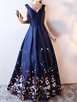 cheap -Ball Gown Floral Blue Quinceanera Formal Evening Dress V Neck Sleeveless Floor Length Polyester with Pleats Pattern / Print 2020