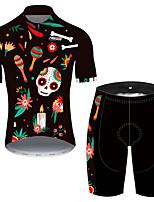 Недорогие -21Grams Муж. С короткими рукавами Велокофты и велошорты Черный / красный Черепа Цветочные ботанический Велоспорт Наборы одежды Устойчивость к УФ Дышащий Быстровысыхающий Впитывает пот и влагу