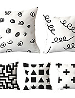 cheap -5 pcs Polyester Pillow Cover, Plaid / Checkered Geometric Simple Classic Square Traditional Classic