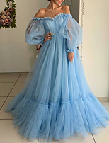 cheap -Ball Gown Minimalist Blue Engagement Prom Dress Off Shoulder Long Sleeve Floor Length Tulle with Pleats 2020