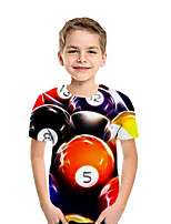 cheap -Kids Boys' Active Street chic Geometric Color Block 3D Short Sleeve Tee Red