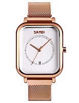 cheap -SKMEI Women's Quartz Watches Casual Fashion Black Silver Rose Gold Stainless Steel Chinese Quartz Rose Gold White+Gold Blue Water Resistant / Waterproof Calendar / date / day New Design 30 m 1 pc