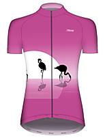 Недорогие -21Grams Жен. С короткими рукавами Велокофты Розовый Фламинго Животное Велоспорт Джерси Верхняя часть Горные велосипеды Шоссейные велосипеды Устойчивость к УФ Дышащий Быстровысыхающий Виды спорта
