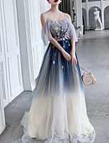 cheap -A-Line Sparkle Blue Wedding Guest Prom Dress Spaghetti Strap Short Sleeve Sweep / Brush Train Polyester with Sequin Appliques 2020