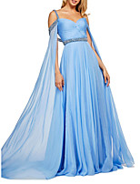 cheap -A-Line Elegant Blue Engagement Formal Evening Dress Sweetheart Neckline Sleeveless Sweep / Brush Train Chiffon with Pleats Crystals Sequin 2020