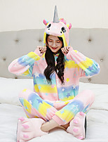 cheap -Adults' Kigurumi Pajamas Unicorn Onesie Pajamas Flannelette Yellow / Pink / Orange Cosplay For Men and Women Animal Sleepwear Cartoon Festival / Holiday Costumes