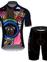 Недорогие -21Grams Муж. С короткими рукавами Велокофты и велошорты Черный / красный Черепа Цветочные ботанический Велоспорт Наборы одежды Устойчивость к УФ Дышащий 3D / Эластичная / Быстровысыхающий / 3D-панель