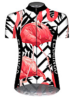 Недорогие -21Grams Жен. С короткими рукавами Велокофты Черный / красный В полоску Фламинго Цветочные ботанический Велоспорт Джерси Верхняя часть Горные велосипеды Шоссейные велосипеды / Эластичная / Дышащий
