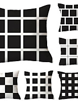 cheap -6 pcs Polyester Pillow Cover, Plaid / Checkered Geometric Simple Classic Square Traditional Classic