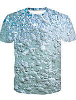 Недорогие -Дети Мальчики Классический Контрастных цветов 3D С принтом С короткими рукавами Футболка Синий