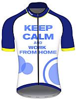 Недорогие -21Grams Муж. С короткими рукавами Велокофты Синий / белый Пэчворк геометрический Велоспорт Джерси Верхняя часть Горные велосипеды Шоссейные велосипеды Устойчивость к УФ Дышащий Быстровысыхающий