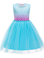 cheap -The Little Mermaid Princess Dress Flower Girl Dress Girls' Movie Cosplay A-Line Slip Blue Dress Children's Day Masquerade Satin / Tulle