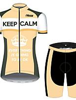 Недорогие -21Grams Жен. С короткими рукавами Велокофты и велошорты Оранжевый + белый В полоску Новинки Корона Велоспорт Наборы одежды Дышащий Быстровысыхающий Ультрафиолетовая устойчивость Впитывает пот и влагу