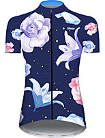 cheap -21Grams Women's Short Sleeve Cycling Jersey Blue / White Floral Botanical Bike Jersey Top Mountain Bike MTB Road Bike Cycling UV Resistant Breathable Quick Dry Sports Clothing Apparel / Stretchy