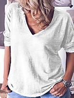 Недорогие -Новая женская повседневная футболка с коротким рукавом с V-образным вырезом 2020 года
