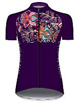 Недорогие -21Grams Жен. С короткими рукавами Велокофты Фиолетовый Цветочные ботанический Велоспорт Джерси Верхняя часть Горные велосипеды Шоссейные велосипеды Устойчивость к УФ Дышащий Быстровысыхающий