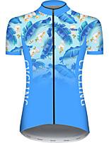 Недорогие -21Grams Жен. С короткими рукавами Велокофты Синий Градиент Лист Цветочные ботанический Велоспорт Джерси Верхняя часть Горные велосипеды Шоссейные велосипеды Устойчивость к УФ Дышащий Быстровысыхающий