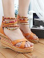 cheap -Women's Sandals Wedge Sandals Summer Wedge Heel Open Toe Daily PU Almond / Pink / Orange