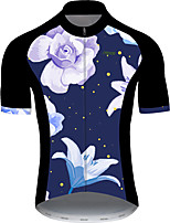 cheap -21Grams Men's Short Sleeve Cycling Jersey Black / Blue Polka Dot Floral Botanical Bike Jersey Top Mountain Bike MTB Road Bike Cycling UV Resistant Breathable Quick Dry Sports Clothing Apparel