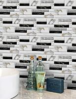 Недорогие -20x10cmx9pcs белые и черные мраморные наклейки на стены ретро маслостойкие водонепроницаемые плитки обои для кухни ванная комната земля стены украшения дома