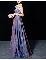 Недорогие -Минималистский блесток без бретелек без рукавов спагетти длиной до пола, блестками, вечернее платье