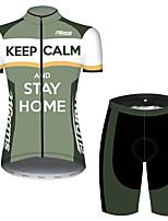Недорогие -21Grams Жен. С короткими рукавами Велокофты и велошорты Зеленый В полоску Новинки Корона Велоспорт Наборы одежды Дышащий Быстровысыхающий Ультрафиолетовая устойчивость Впитывает пот и влагу