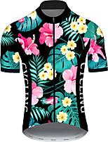 Недорогие -21Grams Муж. С короткими рукавами Велокофты Розовый + зеленый Цветочные ботанический Велоспорт Джерси Верхняя часть Горные велосипеды Шоссейные велосипеды Устойчивость к УФ Дышащий Быстровысыхающий