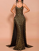 cheap -Mermaid / Trumpet Glittering Sexy Wedding Guest Formal Evening Dress Spaghetti Strap Sleeveless Sweep / Brush Train Polyester with Sequin Overskirt 2020