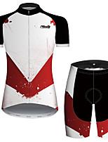 Недорогие -21Grams Жен. С короткими рукавами Велокофты и велошорты Черный / красный Пэчворк геометрический Велоспорт Наборы одежды Дышащий Быстровысыхающий Ультрафиолетовая устойчивость Впитывает пот и влагу