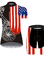 cheap -21Grams Women's Short Sleeve Cycling Jersey with Shorts Black / Red American / USA National Flag Bike Clothing Suit Breathable Quick Dry Ultraviolet Resistant Sweat-wicking Sports American / USA