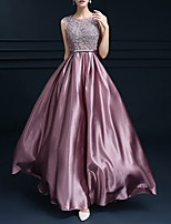 cheap -A-Line Floral Empire Prom Formal Evening Dress Jewel Neck Sleeveless Floor Length Polyester with Pleats Appliques 2020