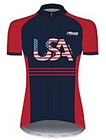 Недорогие -21Grams Жен. С короткими рукавами Велокофты Черный / красный В полоску Американский / США Флаги Велоспорт Джерси Верхняя часть Горные велосипеды Шоссейные велосипеды / Эластичная / Быстровысыхающий