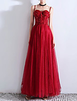 cheap -A-Line Sparkle Red Wedding Guest Prom Dress Spaghetti Strap Sleeveless Floor Length Polyester with Pleats Sequin 2020