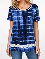 cheap -Women's Striped Print Lace Trims T-shirt Daily Blue / Purple / Blushing Pink / Army Green / Khaki / Gray